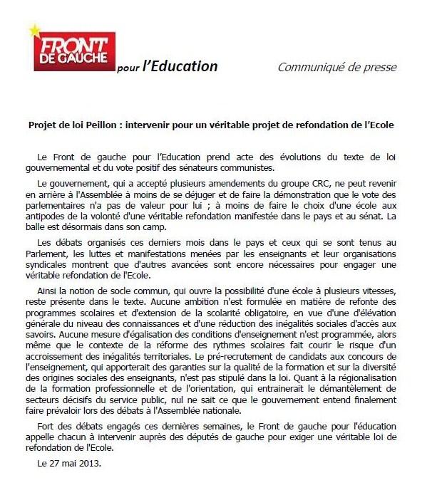 Education - projet de loi Peillon dans EDUCATION NATIONALE education
