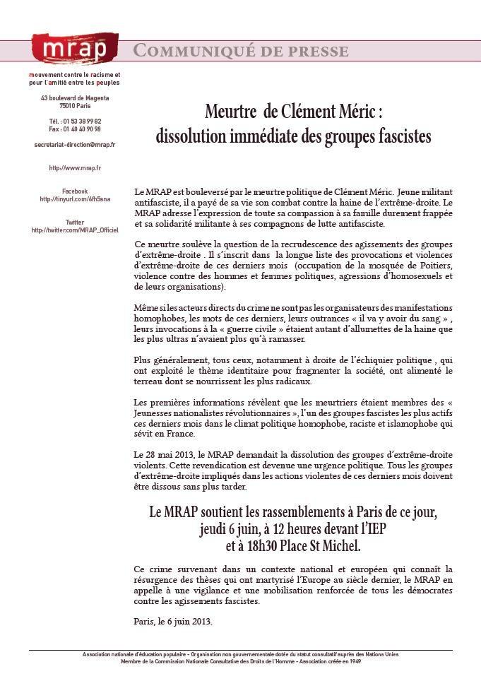 MRAP NORD PAS DE CALAIS - Dissolution immédiate des groupes fascistes dans Discrimination mrap