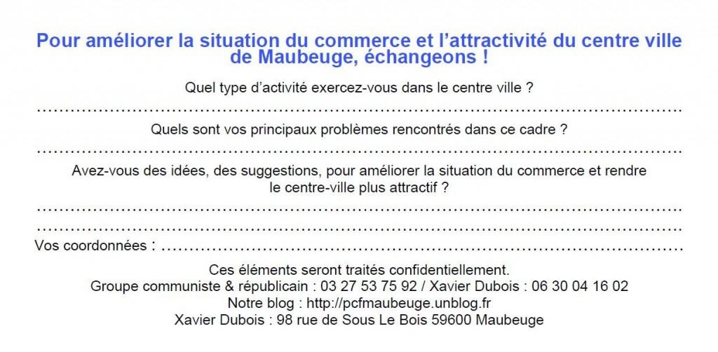 Améliorer le commerce à Maubeuge - échangeons ! dans LOCALE questionnaire