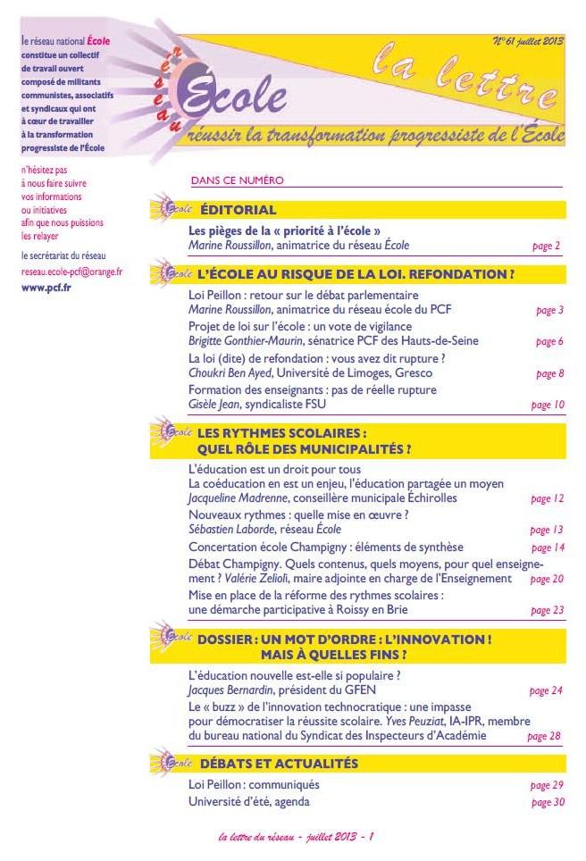 La lettre Réseau Ecole - juillet 2013 dans EDUCATION NATIONALE reseau-ecole