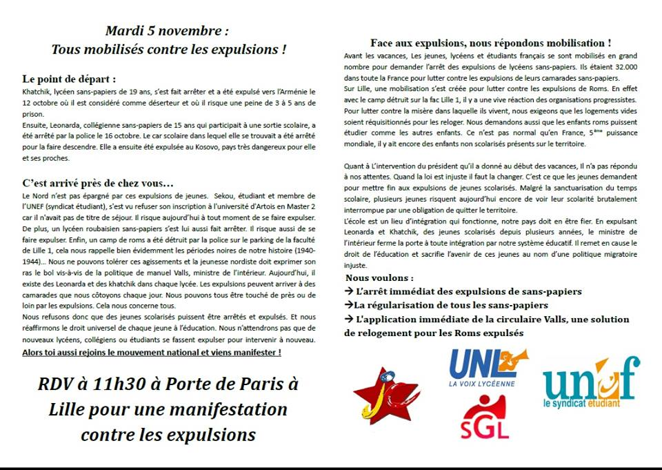 Manifestations pour l'arrêt des expulsions... Lille, Cambrai, Douai... 5 nov. 2013 dans CHANGER LA SOCIETE 1420213_10151950419288836_1440409340_n