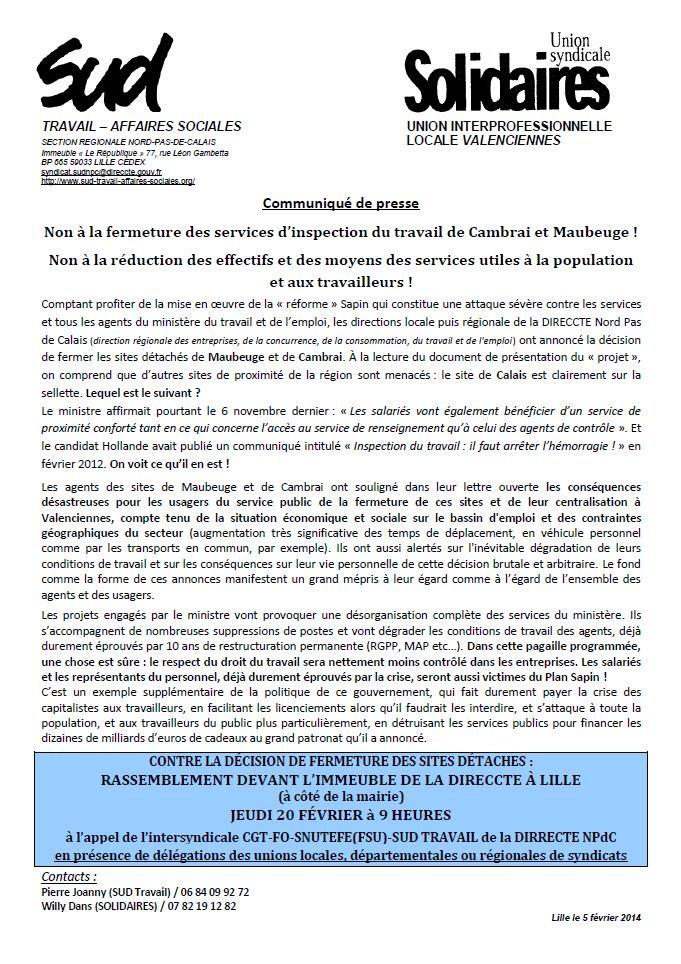 communiqué de presse SOLIDAIRES -SUD TRAVAIL fev 14